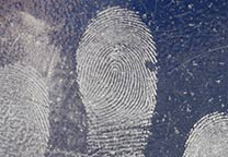 Fingerprint on door pull plate developed with concentrated silver.