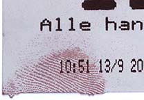 Detail from the ThermaNin treated number ticket.
