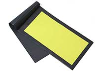 Folder with yellow coater. The coating area is large enough for shoes size 51 EU/15 US.