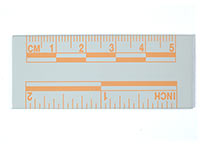 Orange, fluorescent ruler, 5 cm