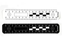 Disposable ruler (15 cm) for photography, one side white with black printing, the other side black with white printing
